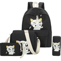 4pcs Lovely Cat Printing Backpack Women Casual Canvas School Bag