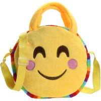Fashion Emoji Face Expression Plush Toy Children Round Backpacks School Bag